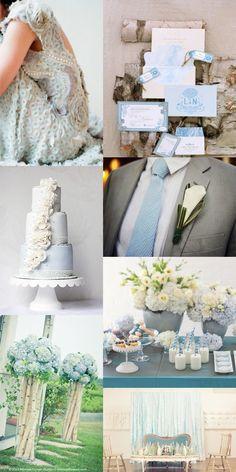 light blue wedding inspiration - with claire pettibone, invitations, seersucker tie, hydrangeas, ribbon backdrop, ombre and ruffled cake