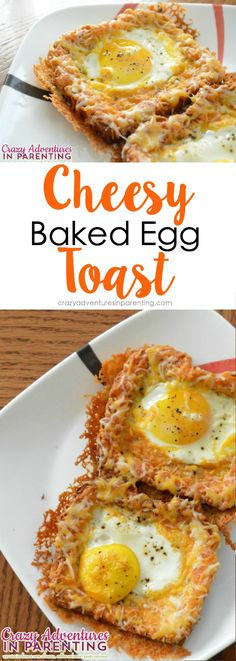 "Combining her love for cheesy eggs with eggs ""over easy,"" try this delicious Cheesy Baked Egg Toast for breakfast. Egg Recipes, Cooking Recipes, Healthy Recipes, Sandwich Recipes, Delicious Recipes, Recipies, Breakfast Time, Breakfast Recipes, Perfect Breakfast"