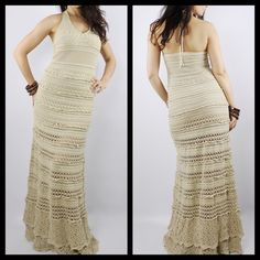 """Cotton crochet dress Beautiful detailed dress, nude color. Size 2 but can stretch on a 4 and still hug a 0 size. I am 5'3"""" and it is a little too long for me. If i try to wear it with heels, it still dusts the floor gently. Moda International Dresses Maxi"""
