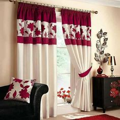 Black and white curtains for living room Design Ideas Red White Curtains Living Room Black And White Living Room Curtains Red And White Living Room Amazing Home Interior Design Ideas Red White Curtains Living Room Red Curtains For Living Room Red Red Unique Curtains, Home Curtains, Curtains Living, Elegant Curtains, Window Drapes, Kitchen Curtains, Bay Window, Living Room Paint, Living Room Decor