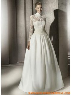 Robe de mariée princesse satin avec boléro dentelle manche... Lace Wedding e17529b9b2ca