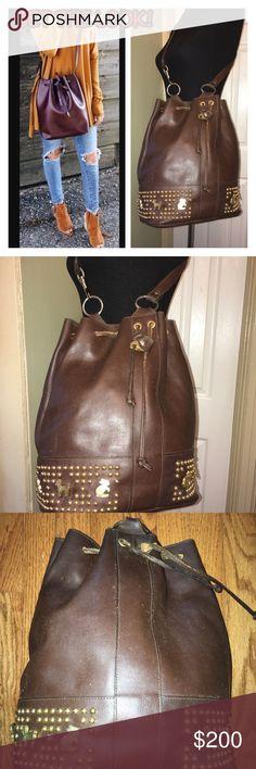 Vintage Brown Leather Embellished Bucket Bag Vintage Brown Leather Embellished Bucket Bag Vintage Bags