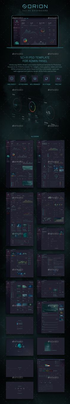ORION Sci-Fi Dashboard User Interfaces Web Elements Design Template PSD. Download here: https://graphicriver.net/item/orion-scifi-dashboard/17021635?s_rank=195&ref=yinkira