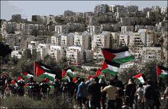 Marcha de protesta palestina ante el asentamiento de Modiin Illit, en Cisjordania, el 27 de febrero de 2015 Thomas Coex AFP