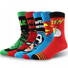 USA Fashion Cartoon Anime Superhero Socks Men Long Happy Art Funky Socks Crazy Cool Flash Superman Captain Avengers Socks Marvel - Get Socked Fashion Socks, Mens Fashion, Style Fashion, Fashion Hats, Fashion Accessories, Anime Superhero, Be My Hero, Funny Dresses, Funky Socks