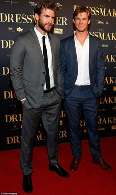 Star support: Liam Hemsworth (left) was joined at the Australian premiere of his new movie The Dressmaker by his older brother Chris (right)