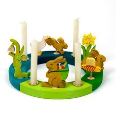 Easter ornaments for Grimms Birthday ring celebration ring Word /'Easter/' and basket with easter eggs waldorf wooden ring