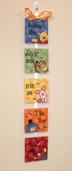 "Similiar to our original design, but matching the ""Peeping Pooh"" nursery theme. Item is made from lightweight ¼"" plywood. Each hand painted square measures 4""x4"". They are connected by ribbon, and polyurethaned to give the piece a nice, finished look as well as preserve the work for a lifetime!"