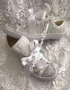 Pearl and Crystal Rhinestone Custom Converse Wedding Shoes
