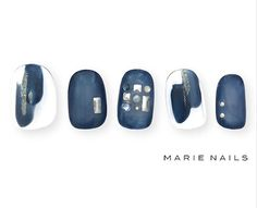 So Nails, Blue Nails, How To Do Nails, Hair And Nails, Pretty Nail Designs, Pretty Nail Art, Nail Art Designs, Asian Nail Art, Asian Nails