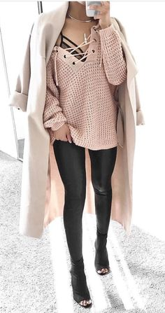 Love the bralette peaking out, the leather leggings, oversized sweater and peep toe booties for fall