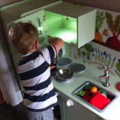 Add a little bit of this . Wooden Play Kitchen, Diy Kitchen, Plastic Cutting Board, Wooden Toy Kitchen