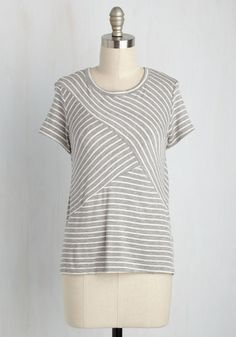 Hustle and Puzzle Top - Grey, Stripes, Casual, Nautical, Short Sleeves, Summer, Good, Crew, Knit, Mid-length, White