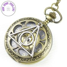 Harry potter Deathly Hallows Pocket Watch Necklace,golden Dial Pocket... ($5.99) ❤ liked on Polyvore