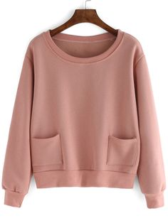Pink Round Neck Pockets Crop Sweatshirt - shein.com