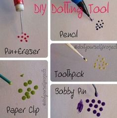 DIY Nail dotting tool... another easy guide! I may have the girls try this :)