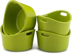 Green Set of 4/10-oz. Stoneware Bubble & Brown Singles by Rachael Ray by Rachael Ray at Cooking.com