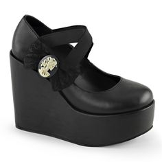 black platform *mary janes* with skull cameo and bow <3