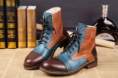 Handmade Men's Tan Brown Blue Boot Dress Leather