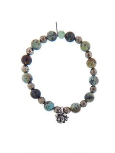 Catherine Michiels - Silver Peony on African Turquoise and Faceted Pyrite Bead Bracelet