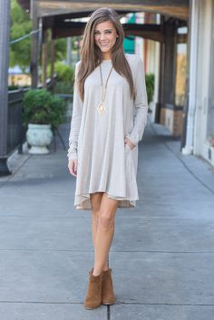 """""""Wine And Dine Dress, Oatmeal"""" You're going to look like a dime in this soft, neutral dress! This long-sleeve dress is right on trend for fall and oh-so easy to wear.  #newarrivals #shopthemint"""