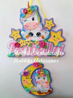 Baby Shower Crafts, Baby Crafts, Diy And Crafts, Arts And Crafts, Birthday Name, Unicorn Birthday Parties, Birthday Party Decorations, Foam Sheet Crafts, Foam Crafts