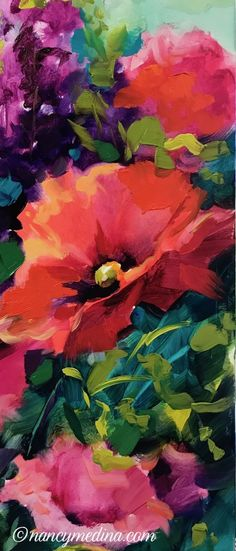 Growing Wild Poppies, 16X16, oil www.nancymedina.com