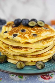These Keto Blueberry Pancakes are buttery, fluffy, and thick. They're made with almond flour and each pancake is studded with juicy blueberries. #ketobreakfast #healthypancakes #pancakes #blueberrypancakes #ketorecipes Healthy Breakfast Snacks, Breakfast Recipes, Low Carb Recipes, Baking Recipes, Quick Easy Healthy Meals, Sugar Free Syrup, Blueberry Pancakes, Best Cake Recipes, Keto Cookies
