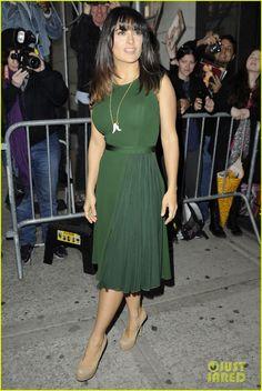Curvy/Petite Salma Hayek. Fitted waist, flare-hem midi. Nude heels create longer leg length. Long V-necklace breaks up large bust.