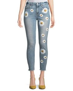 High-Rise Ankle Skinny Jeans w/ Daisy Floral-Print & Raw-Hem by 7 For All Mankind at Neiman Marcus Neo Grunge, Style Grunge, Soft Grunge, Diy Jeans, Painted Jeans, Painted Clothes, Ripped Jeggings, Ripped Skinny Jeans, Outfit Jeans