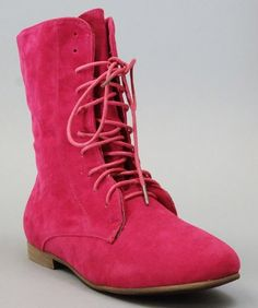 Nature Breeze Staci-01 Lace Up Women Ankle Boots FUCHSIA