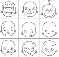 Drawing feelings - face features according to feelings (as part of our Stop Motion project)
