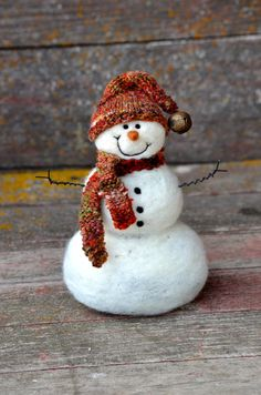 Snowman Needle Felted  by BearCreekDesign