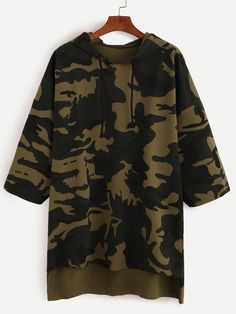 SheIn offers Camo Print Dip Hem Hooded Sweatshirt & more to fit your fashionable needs. Tomboy Outfits, Teen Fashion Outfits, Cool Outfits, Casual Outfits, Fashion Clothes, Printed Sweatshirts, Hooded Sweatshirts, Hoodies, Vetement Fashion