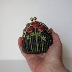 Gray crochet coin purse with 3 crocheted hand dyeing от LozArts