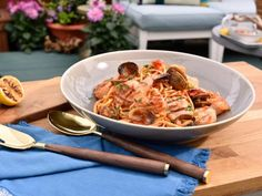 Grilled Seafood with Linguine Recipe via Katie Lee Food Network The Kitchen Grilling Recipes, Fish Recipes, Seafood Recipes, Great Recipes, Dinner Recipes, Cooking Recipes, Party Recipes, Yummy Recipes, Favorite Recipes