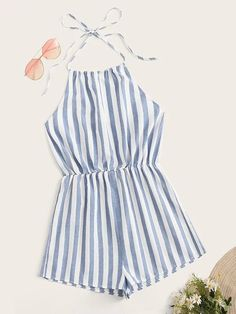 To find out about the Plus Blouson Waist Striped Knot Halter Romper at SHEIN, part of our latest Plus Size Jumpsuits ready to shop online today! Cute Rompers, Rompers Women, Jumpsuits For Women, Cute Summer Rompers, Teen Fashion Outfits, Look Fashion, Girl Outfits, Latest Fashion, Fashion Trends