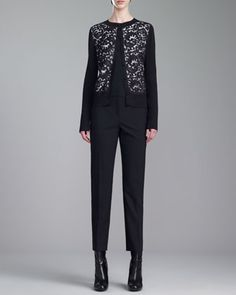 Shimmer Rib-Knit Jewel-Neck Lace Cardigan, Stretch Silk Crepe de Chine Shell & Emma Tropical Cropped Pants by St. John Collection at Neiman Marcus.