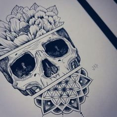 This drawing shows a confusing image of a skeleton skull. The skull has its top part covered with flowers with two parallel lines separating acting as the flower-skull boarder. The mouth and jaw are also covered by well-patterned flowers. #tattoofriday #tattoos #tattooart #tattoodesign #tattooidea