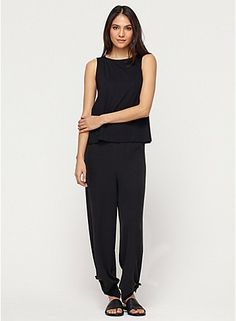 Wide-Leg Ankle Pant with Slits in Silk Georgette Crepe - love the tie as an option at the bottom