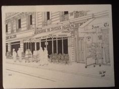 Bistro a Paris , dibuix a tinta sobre paper