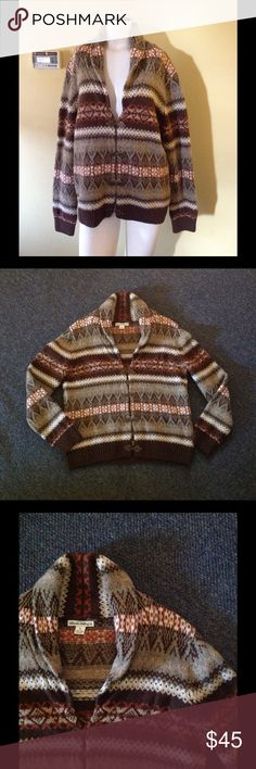 "Nordic Fair Isle Pewter Clasp Shawl Collar Sweater Beautiful sweater! Brown Nordic style - pewter clasp with a shawl collar. Made of 100% wool and marked size XL. May run smaller so please check the measurements. Chest 43"" Length 27"". Great condition! Telluride Clothing Co Sweaters Cardigans"