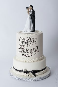 Cake-o-topia romantic wedding cake handlettering quotes Black and White classic