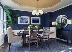 Navy Blue Paint Colors Transitional Dining Room Benjamin Moore French Beret Chango Co