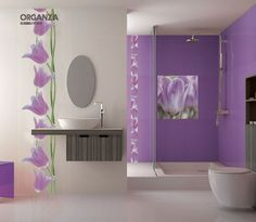 Murals and violets on pinterest for Faience salle de bain violet