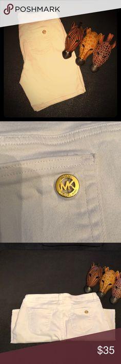 Michael Kors White Denim Shorts Like New. Only flaw is a faint pink spot by back loop.   Waist: 17.5 Hips: 20.5 Inseam: 9 Rise: 10  Measurements taken flat. KORS Michael Kors Shorts Jean Shorts