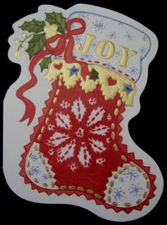 Vintage Christmas Greeting Card Die Cut Gilded Red Christmas Stocking