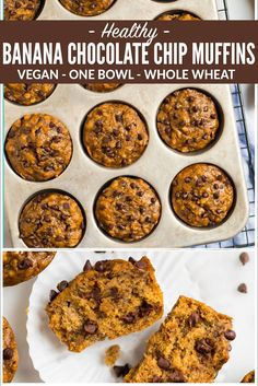 Moist Healthy Banana Chocolate Chip Muffins With Applesauce. Simple, Vegan, And Whole Wheat, These Simple Muffins Are Perfect For Healthy Breakfasts Clean Eating And Kid Friendly. Clean Eating Chocolate, Clean Eating Desserts, Healthy Chocolate, Vegan Desserts, Strawberry Desserts, Vegan Banana Muffins, Banana Chocolate Chip Muffins, Healthy Muffins, Chocolate Chips