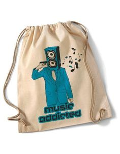 """Music Addicted""  Cotton Gymsack/Turnbeutel von MAD IN BERLIN auf DaWanda.com"