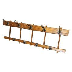 Vintage solid oak coat hanger Width 120 cm Height 29 cm